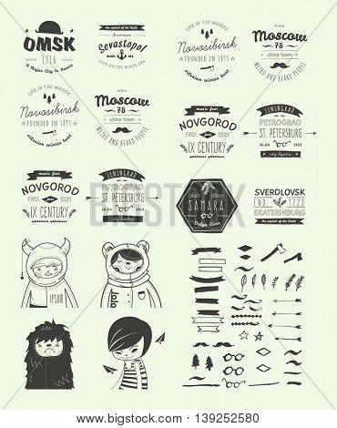 Hand Drawn Style Logos. Trendy Retro Vintage Insignias