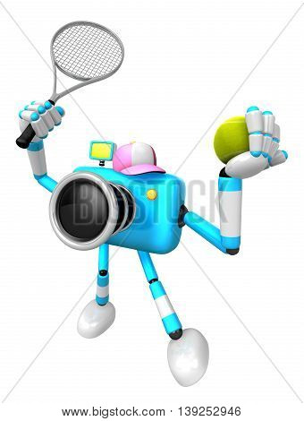 Cyan Camera Character Is A Powerful Tennis Game Play Exercises. Create 3D Camera Robot Series.