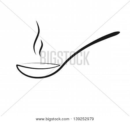 Vector. Isolated Illustration of a spoon. A spoon of hot soup or sauce. spoon icon.