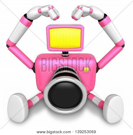 Gesture Of Love Is Pink Camera Character Sit On The Floor. Create 3D Camera Robot Series.
