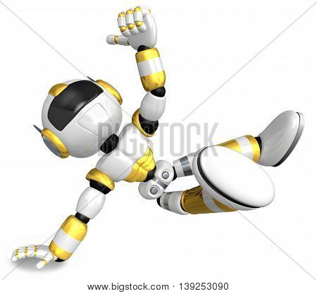 Gold Robot Character Dancing Is An Intense Dance With One Arm. Create 3D Humanoid Robot Series.