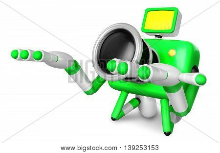 Green Camera Character Kneel In Prayer. Create 3D Camera Robot Series.