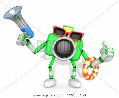 Green Camera Character On Their Vacation Journey. Create 3D Camera Robot Series.