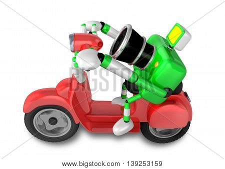 Green Camera Character The Right Motorbike Driving. Create 3D Camera Robot Series.