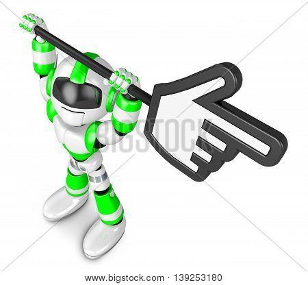 Green Robot Character Holding Up A Big Cursor. Create 3D Humanoid Robot Series.