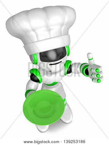 Green Robot The Right Hand Best Gestures. Holding A Plate Left Hand. Create 3D Humanoid Robot Series