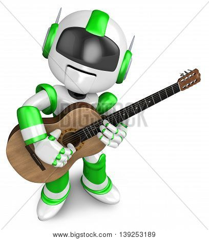 Green Robot Has Been Playing The Classical Guitar. Create 3D Humanoid Robot Series.