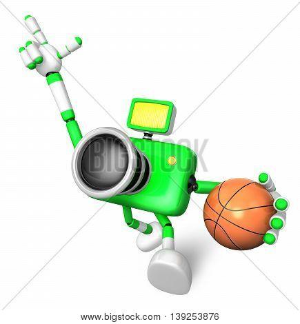 The Green Camera Character Holding A Basketball Running. Create 3D Camera Robot Series