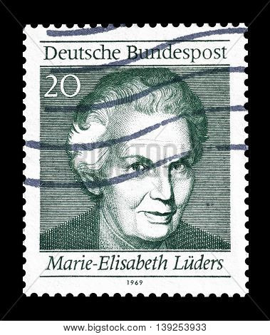 GERMANY - CIRCA 1969 : Cancelled postage stamp printed by Germany, that shows Marie Elisabeth Luders.
