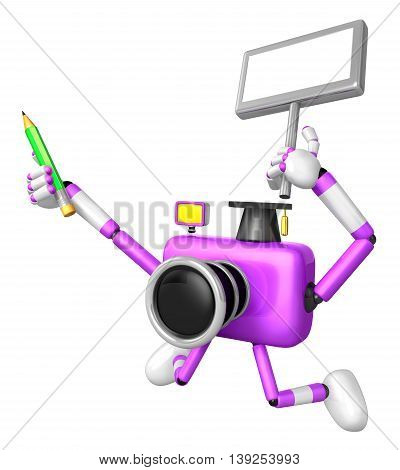 The Left Hand Holding The Board Teacher Purple Camera Character. The Right Hand Grasp Pencil. Create