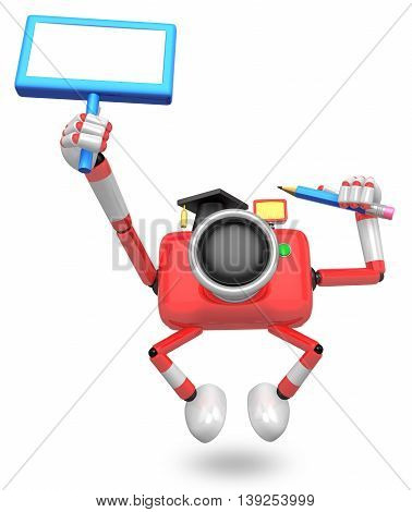 The Left Hand Holding The Board Teacher Red Camera Character. The Right Hand Grasp Pencil. Create 3D