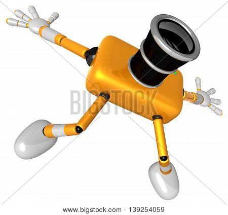 The Yellow Camera Character In Dynamic Photos Of The Jump Shot Camera. Create 3D Camera Robot Series