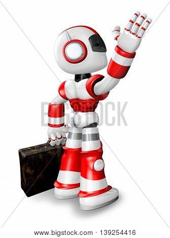 Wave Down The Red Robot Character Is Carrying A Bag. Create 3D Humanoid Robot Series.
