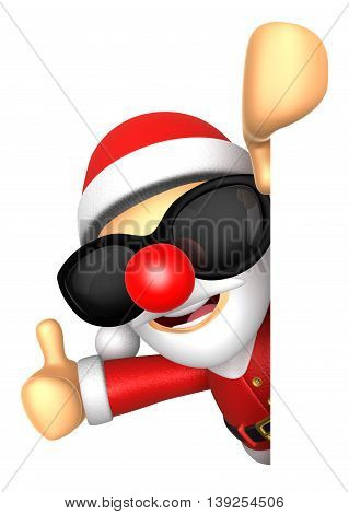 Wear Sunglasses 3D Santa Mascot The Right Hand Best Gesture And Left Hand Is Holding A Board. 3D Chr