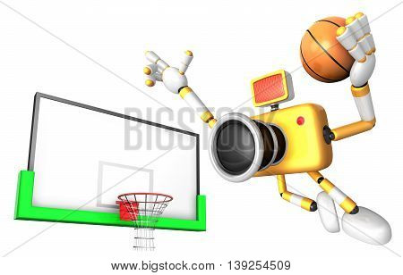 Yellow Camera Basketball Player Vigorously Jumping. Create 3D Camera Robot Series.