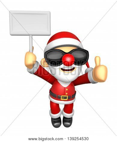 Wear Sunglasses 3D Santa Mascot The Right Hand Best Gesture And Left Hand Is Holding A Picket. 3D Ch