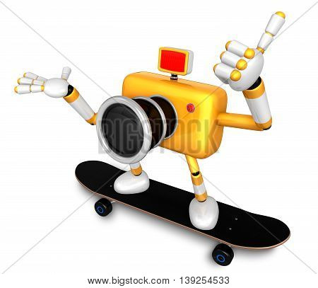 Yellow Camera Character Skateboarding Riding . Create 3D Camera Robot Series.