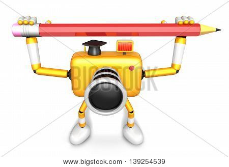 Yellow Camera Character With Both Hands Holding A Large Pencil. Create 3D Camera Robot Series.