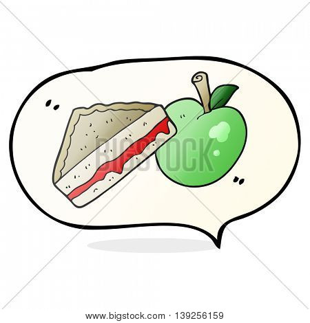 freehand drawn speech bubble cartoon packed lunch