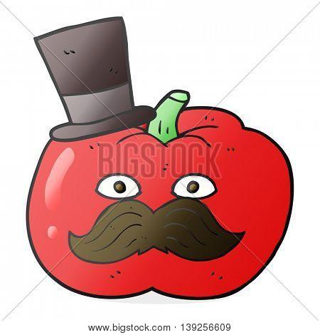 freehand drawn cartoon posh tomato