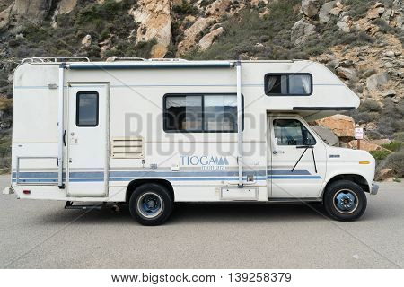 California USA - September 28 2015: Trailer Tioga Montara by Fleetwood standing in mountains of California.