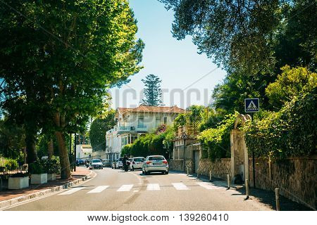 Eze, France - June 28, 2015: Traffic on in suburbs of city