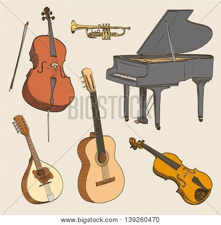 Set of hand drawn classical musical instruments. Cello violinguitar mandolin piano. Vector illustration