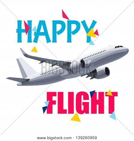 Flying Airplane with Happy Flight Header. Wishes For a Good Trip.Concept For Travel Company Banner PosterVoucherTicketMagazine.