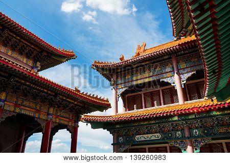 Chinese Buddhist Monastery Roof