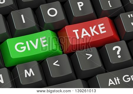 Give and Take concept on the black keyboard 3D rendering