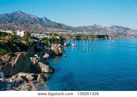 Beach, Coast Near Resort Town Of Nerja In Spain. View From Balcon De Europa