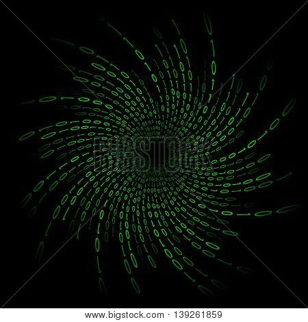 Vortex of binary code on screen. Abstract vector background. Data and technology decryption and encryption computer matrix illustration