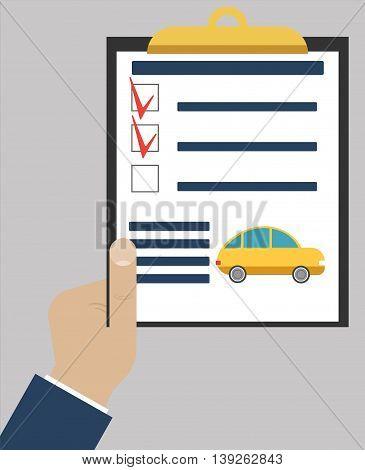 Checklist or todo-list on paper tablet. Vector illustration