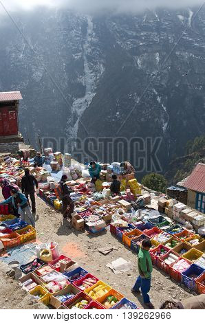 NAMCHE BAZAR NEPAL-MARCH 7: Traditional Saturday market in Namche Bazar on March 72014 Khumbu district Himalayas Nepal