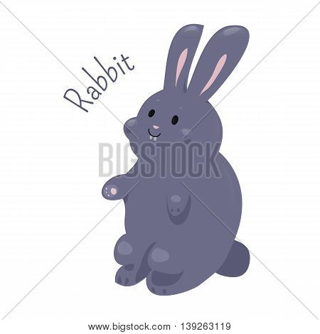 Rabbit. Small mammals in the family Leporidae of the order Lagomorpha. European, cottontail, Amami. Part of series of cartoon home animal species. Domestic pets. Sticker for kids. Child fun icon. Vector