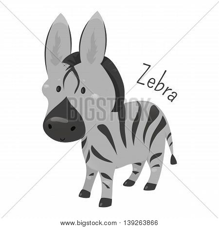 Zebra isolated. African equids horse family united by distinctive black and white striped coats. Part of series of cartoon savannah animal species. Sticker for kids. Child fun pattern icon. Vector