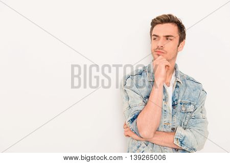 Handsome Ponder Young Guy Isolated On White Background