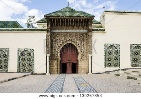 Entrance of the Mausoleum of Moulay Ismail in Meknes Morocco.This peaceful and spiritual resting place of Sultan Moulay Ismail is one of the few sacred sites in Morocco open to non-Muslims.