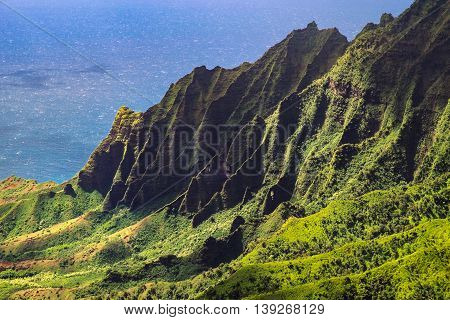 Landscape View Of Kalalau Valley Cliffs At Na Pali Coast