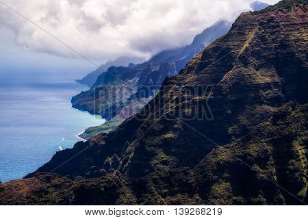 Beautiful Landscape View Of Na Pali Coastline In Dramatic Style, Kauai