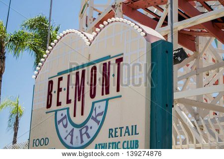 SAN DIEGO, CALIFORNIA - JUL 2015 : Belmont Park is a historic amusement park that opened in 1925 near the Pacific Ocean in San Diego, California.