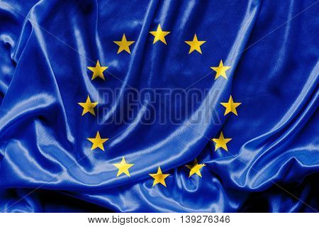 Waving Euro flag - fabric background, wallpapers, close-up