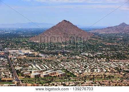 Camelback Mountain and Piestewa Peak hiking and recreational destinations viewed from above
