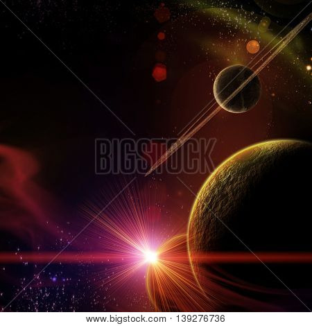 planet with sunrise on the background of stars