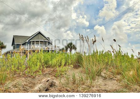 A Beach house sitting a top the dunes at Edisto Beach along the eastern coast of South Carolina.