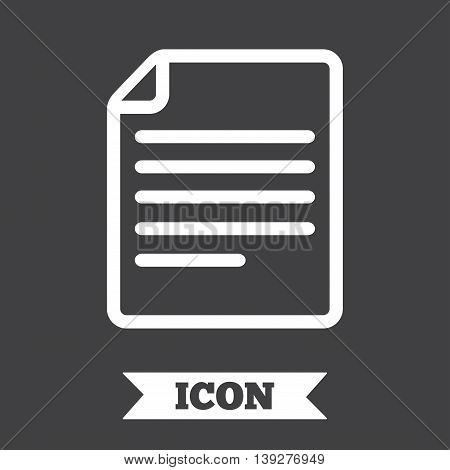 File document icon. Download doc button. Doc file symbol. Graphic design element. Flat file document symbol on dark background. Vector