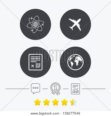 Airplane icons. World globe symbol. Boarding pass flight sign. Airport ticket with QR code. Chat, award medal and report linear icons. Star vote ranking. Vector