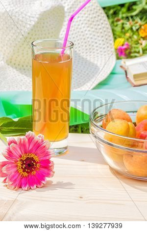 Relax in the garden on a sunny summer day. Red zinnia flower a glass of juice a bowl of yellow ripe apricots on a wooden table in the foreground. In the background is green chaise longue a book and a white hat near blooming flower bed