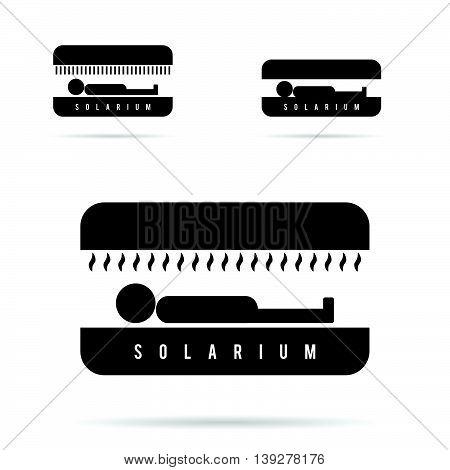 Solarium With People Icon In Black Illustration