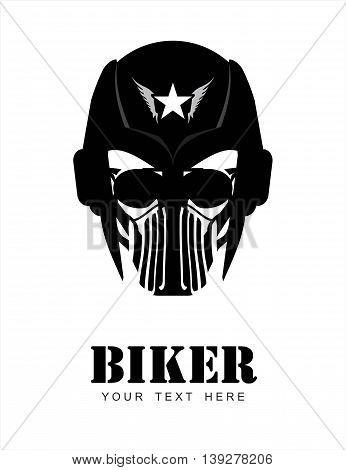 Man with the helmet. masker & sunglasses. Racer. Biker. Rider. Pilot. Head. Artwork. Warrior Mascot. Suitable for team identity insignia mascot sport team icon apparel biker community etc .